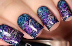 Uñas decoradas con esponja, uñas decoradas con esponja.  Follow! #manicuracolores #unghiecolore #uñasvistosas