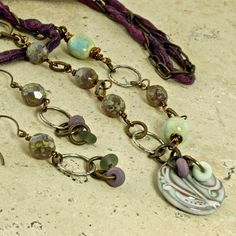 Wistereria Artisan Ceramic and Glass OOAK BOHO by enlalumiere, $72.00