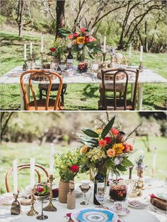 Bohemian Style Inspiration. Photography by Jaquilyn Shumate, styled by Simply by Tamara Nicole, floral design by Florarama, dishware by Vintage Dish Company.