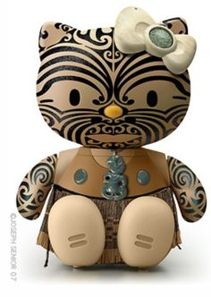 new zealand maori hello kitty! i dont like hello kitty, but i love the maori, so this is pretty sick! Hello Kitty Art, Here Kitty Kitty, Hello Kitty Characters, Maori Designs, Nz Art, Miss Kitty, Maori Art, Kiwiana, Little Pony