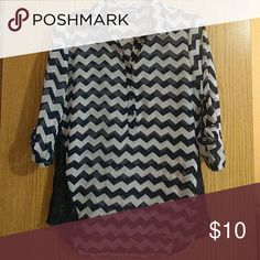 Chevron Button Down Navy and light blue chevron chiffon and lace button down top Worn a few times Wet Seal Tops Button Down Shirts