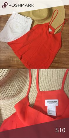 H&M SZ 4 Red-Orange, Silky, Spaghetti Strap Tank This H&M Conscious Collections tank is an adorable summer top. Paired with J. Crew Chino shorts (ALSO FOR SALE!) and a big floppy hat, this silky tank is perfect for those hot summer days. Only worn ONCE! ✨ Size 4 and in brand new condition ❤️ H&M Tops Tank Tops