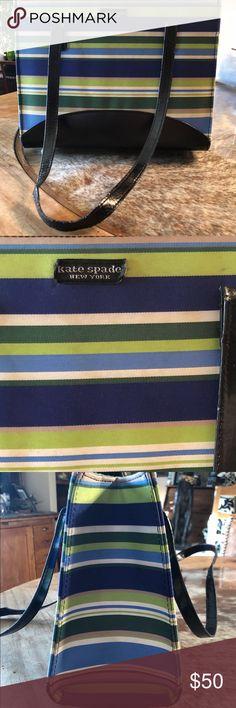 Kate Spade vibrant striped fabric handbag Kate Spade vibrant  blues greens white striped shoulder a6bd9d71a1042