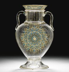 A J. & L. Lobmeyr gilded and enamelled two-handled clear glass vase, signed with monogram, Vienna, late 19th Century