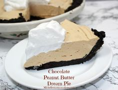 Chocolate Peanut Butter Dream Pie Recipe! {you'll love this Dasy No Bake Dessert with delicious, decadent filling!} #nobake #pies #recipes