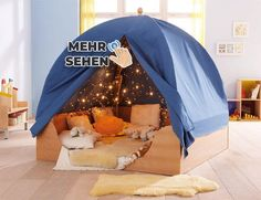 Maybe we don't have enough room for a separate sensory room but what about something better? A snoozlen room in a tent! Easy access in class and we could lock it using locks on the zippers! Kids Indoor Playhouse, Build A Playhouse, Zipper Bedding, Sensory Rooms, Kid Spaces, Play Houses, Interior Design Living Room, Kids Bedroom, Baby Room