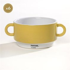 Set of Six Ø 14 cm Cereal Bowls, Yellow