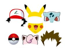Pokemon Photo Booth set 25 pieces Printable by PartyPropsDesigns