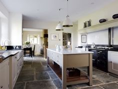 Antique Reclaimed Yorkstone - a traditional english kitchen floor