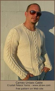 Cameo Easy Aran Cable Unisex Pullover - free knit cable sweater pattern - Crystal Palace Yarns