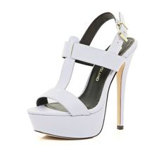I'm shopping Light purple T bar platform sandals in the River Island iPhone app.