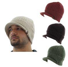 True Religion Jeans Men's Solid Visor Beanie Knit Hat Cap Cashmere #TrueReligion #Beanie $22