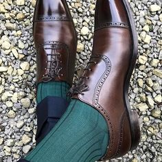 Even in modern times you can tell a gentleman by his shoes. These beauties are by @crockettandjones_official, paired with what look to be Mazarin socks in Vert Académie. : @ignoreatyourperil    Tag #Styleforum to be featured!