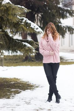 Comfy oversized pink sweater   #ootd #winterstyle