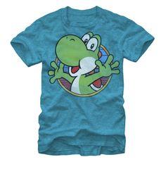 Adult Heather Turquoise Video Game Nintendo Mario Yoshi Firth Sun T-Shirt Tee #Nintendo #BasicTee