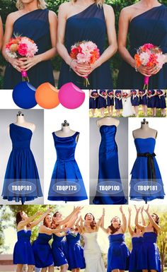 Bridesmaid Dress Ideas - Instead of Blue they will be either Purple, Aqua, Turquoise, or Peacock Blue :)