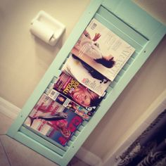 Magazine rack for the bathroom. DIY old shutter