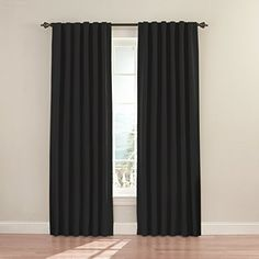 Eclipse Fresno 52 by 84-Inch Blackout Window Curtain, Black | Top Blackout Curtains
