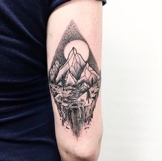 Mountains done by Kurtis Johansen in KC #dotwork #mountaintattoo #landscapetattoo #kansascitytattoo #stippleshading #naturetattoo #moutains