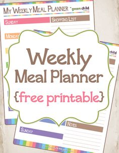 Free printable meal planner ~ Choose Sunday or Monday start day and help stay on track with making healthy meals.