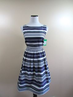 Lilly Pulitzer Silk Organza Navy White Stripe Eryn Flare Dress Size 6 NWT $298 #LillyPulitzer #Flare #Cocktail