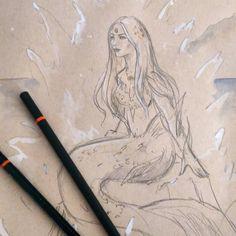 #sketchfest winter mermaid. Pencil goauch watercolour #instaart #artistsoninstagram #sketching #mermaid