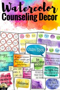 Watercolor counseling decor for your school counseling, social work, or psychologist office! School Counselor Office, Counseling Office Decor, Middle School Counseling, Elementary School Counselor, Psychologist Office, Counseling Quotes, Counseling Activities, School Counselor Organization, Therapist Office Decor