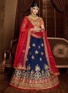 We offer latest bridal lehenga choli and wedding lehengas choli. Buy this compelling a line lehenga choli for bridal and wedding.
