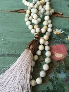 Shabby BoHo romantic hand knot neutral gemstone by MarleeLovesRoxy