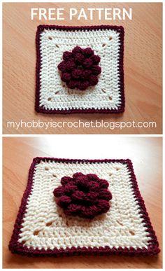 Dahlia in a square- Granny Square Free Crochet Pattern with photo tutorial