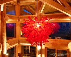 Something a little different...a blown glass chandalier from the home I posted over the weekend. And to note, the log and timber work is by Nicola Log Works of Merrit, BC. www.logworks.ca For more photos or this or any other or my homes, please check out my website, www.designma.com, my Design Page, www.facebook.com/loghomedesign #loghome #loghomedesign #loghomebuilders #postandbeam #NorthCarolinaloghomes