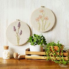 Replace seeds, water, and sunshine with embroidery floss, perle cotton, and linen to create an embroidery hoop duo featuring lavender stalks and a wispy crop of dandelions.