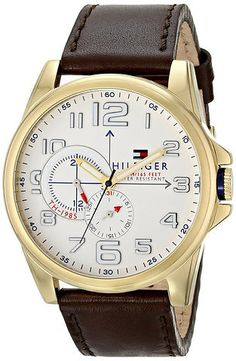 f052681e832 Tommy Hilfiger Men s Stainless Steel Watch with Brown Leather Band  Bracelete De Relógio De Couro
