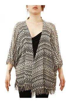 Veste poncho femme Noir et Blanc - Zonedachat.com Tops, Women, Fashion, Ethnic Patterns, Fringe Coats, Black Women, Jacket, Moda, Women's