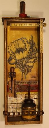 Junktiques--Junk Drawer Series mixed media assemblage created by Whawi member artist  Kathy Moore.