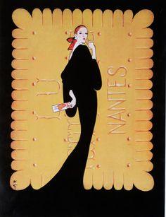 Publicité pour les biscuits LU (1980-1990) par René Gruau. Mots clés : échelle, réserve