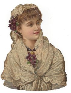 Victorian Die Cut Scrap Beautiful Woman in Lace and Bouquets of Violets