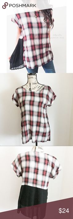 """Plaid Pleated Back Top ✦   ✦{I am not a professional photographer, actual color of item may vary ➾slightly from pics}  ❥chest:20.5"""" ❥waist:21"""" ❥length:25.5""""/28.5"""" ❥sleeves:7.5"""" ➳material/care:cotton+polyester/hand wash  ➳fit:in my opinion oversized might work for a size up  ➳condition:gently used   ✦20% off bundles of 3/more items ✦No Trades  ✦NO HOLDS ✦No transactions outside Poshmark  ✦No lowball offers/sales are final bobeau Tops"""