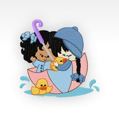 "Little Girl - Machine Embroidery Design - Rainy Day Girl 5 - 4x4"""