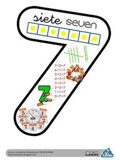 La Eduteca: RECURSOS INFANTIL | Cartel del Nº 7 para decorar el aula