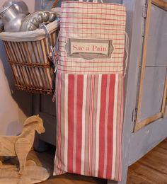 """Sac à pain campagne toile à torchon toile à matelas rouge/taupe/écru et inscription """"Sac à Pain"""" : Autres sacs par rouge-lin-et-bois"""