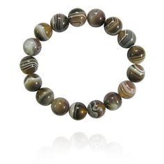 "12mm Round Botswana Agate Bead Bracelet, 7.25"" Amazon Curated Collection. $16.00. Made in China"