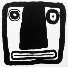 CARA Tamaño (pulgadas): 5 x 5 x 1.5 Materiales: Yeso blanco, pintura acrílica negra, barniz de alto brillo permanente, Galería profesional envuelto lona Año: 2013 Lienzo sobre bastidor de madera - listo para colgar. Ninguna estructura necesaria. Se trata de una pintura Original del
