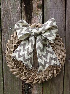 "16"" bubble petal burlap wreath with gray chevron bow, spring burlap wreath!! must diy this. lovely"