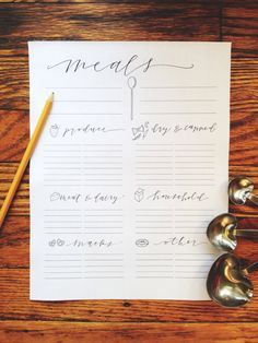 Instant Download Meal Planning and Grocery List Printable, Hand-Lettered