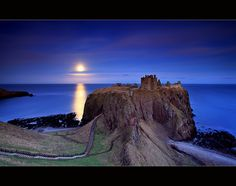 Moonrise at Dunnottar Castle ~ photographer Angus Clyne #dream #photography #Scotland