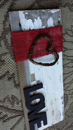 Distressed repurposed wood Love sign with heart and by iheartsigns, $15.00