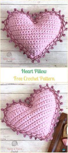 Crochet Heart Pillow Amigurumi Free Pattern- Amigurumi Crochet 3D Heart Free Patterns