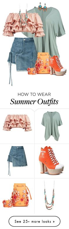 Summer Outfits : Blushed and sunny by fiery555 on Polyvore featuring Boohoo Sandy Liang Marin