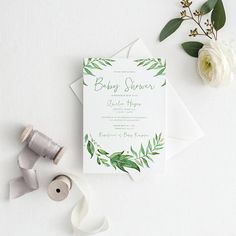 Baby Shower Invitation  Printed Invitation  Greenery